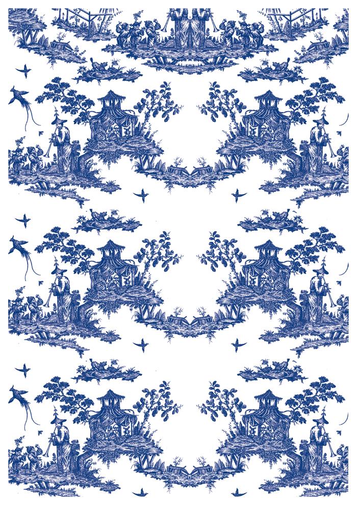 décalcomanie céramique motifs bleu chinois ou toile de jouy