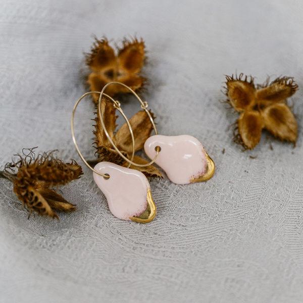 boucle d'oreilles porcelaine et or