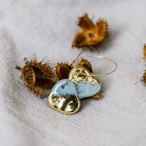 boucles d'oreilles porcelaine et or